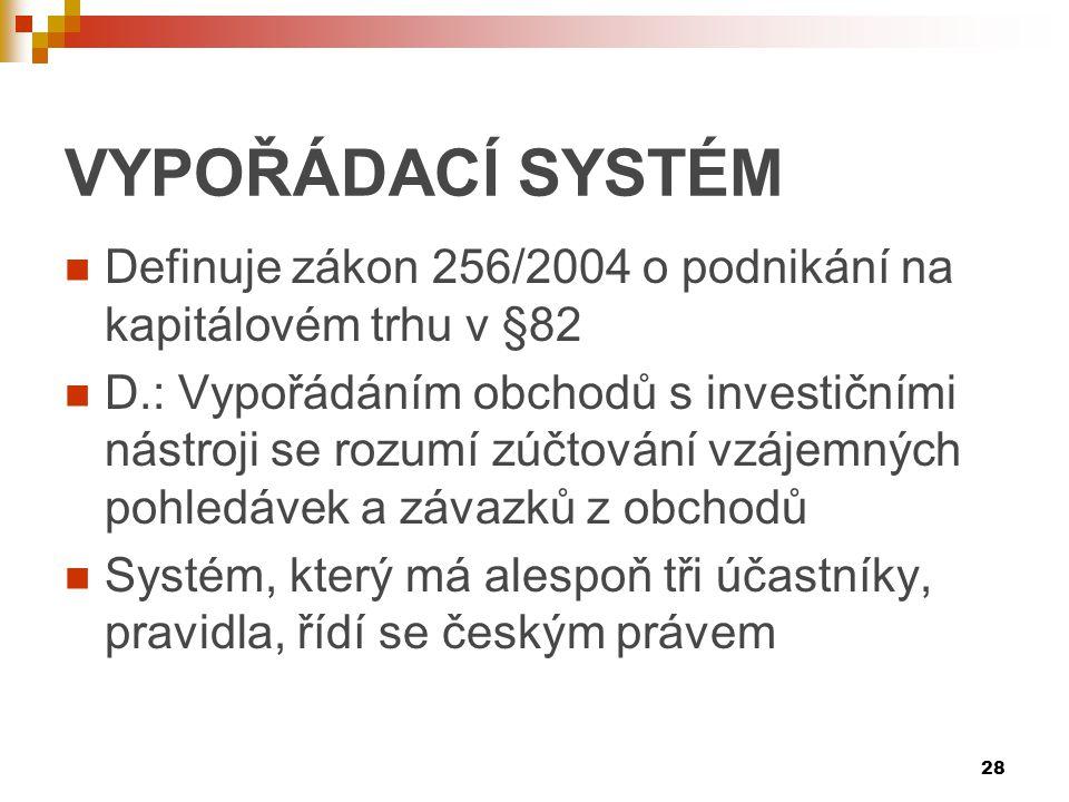 VYPOŘÁDACĺ SYSTÉM Definuje zákon 256/2004 o podnikání na kapitálovém trhu v §82.