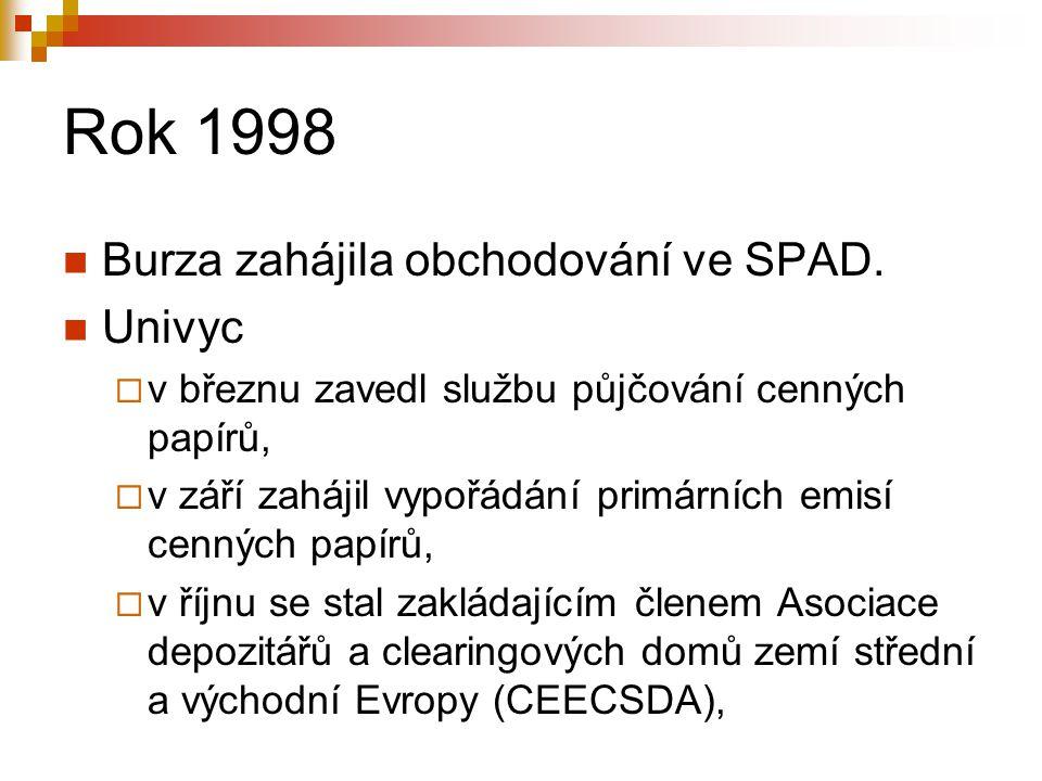 Rok 1998 Burza zahájila obchodování ve SPAD. Univyc