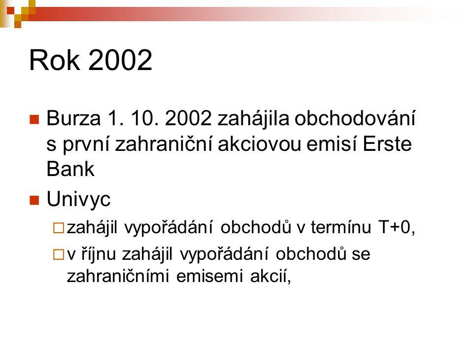 Rok 2002 Burza 1. 10. 2002 zahájila obchodování s první zahraniční akciovou emisí Erste Bank. Univyc.