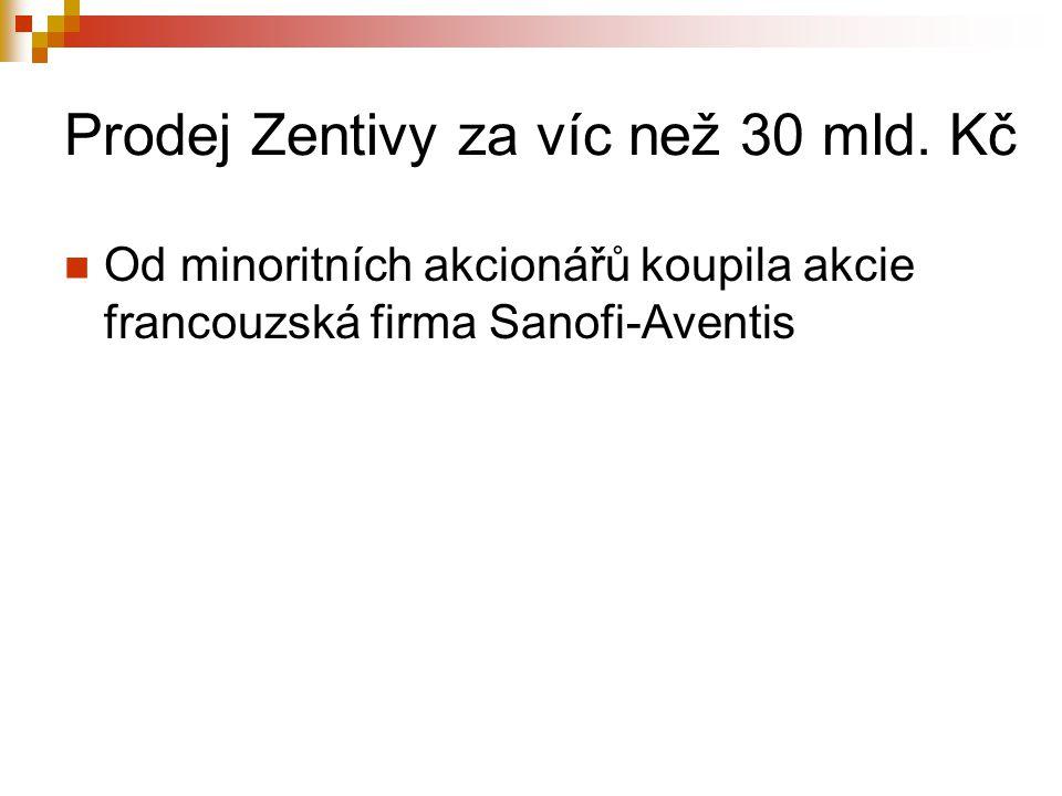 Prodej Zentivy za víc než 30 mld. Kč