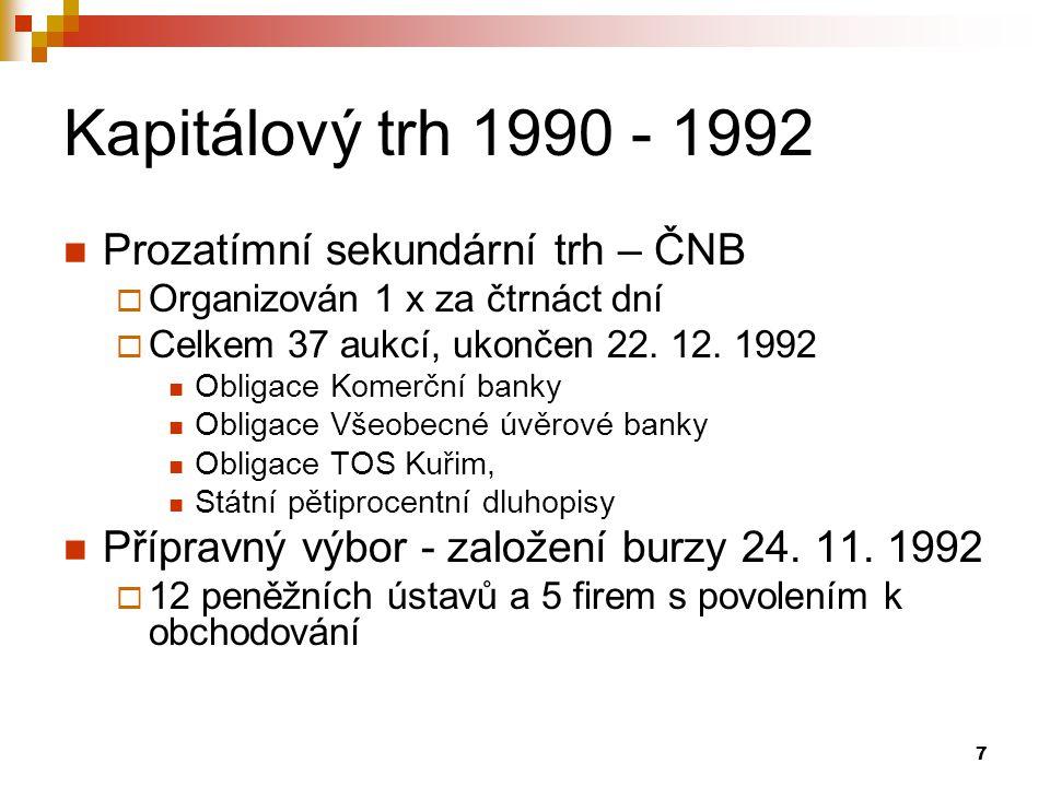 Kapitálový trh 1990 - 1992 Prozatímní sekundární trh – ČNB