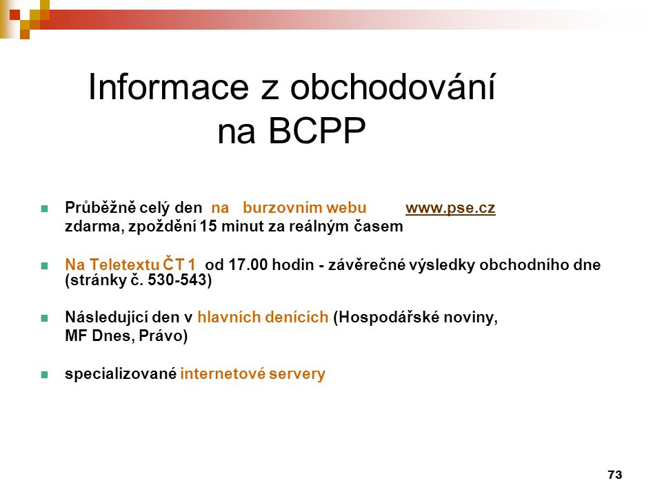 Informace z obchodování na BCPP