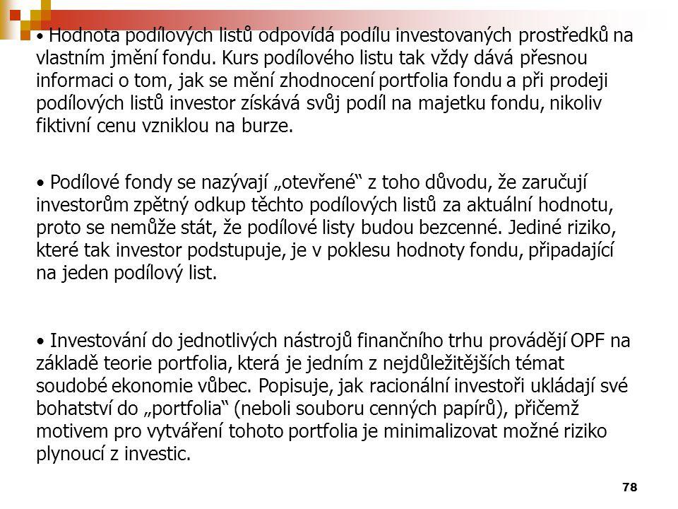 Hodnota podílových listů odpovídá podílu investovaných prostředků na vlastním jmění fondu. Kurs podílového listu tak vždy dává přesnou informaci o tom, jak se mění zhodnocení portfolia fondu a při prodeji podílových listů investor získává svůj podíl na majetku fondu, nikoliv fiktivní cenu vzniklou na burze.