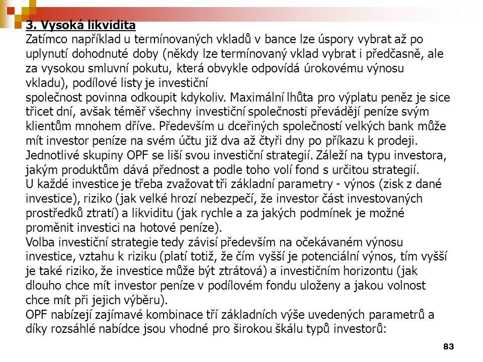 3. Vysoká likvidita