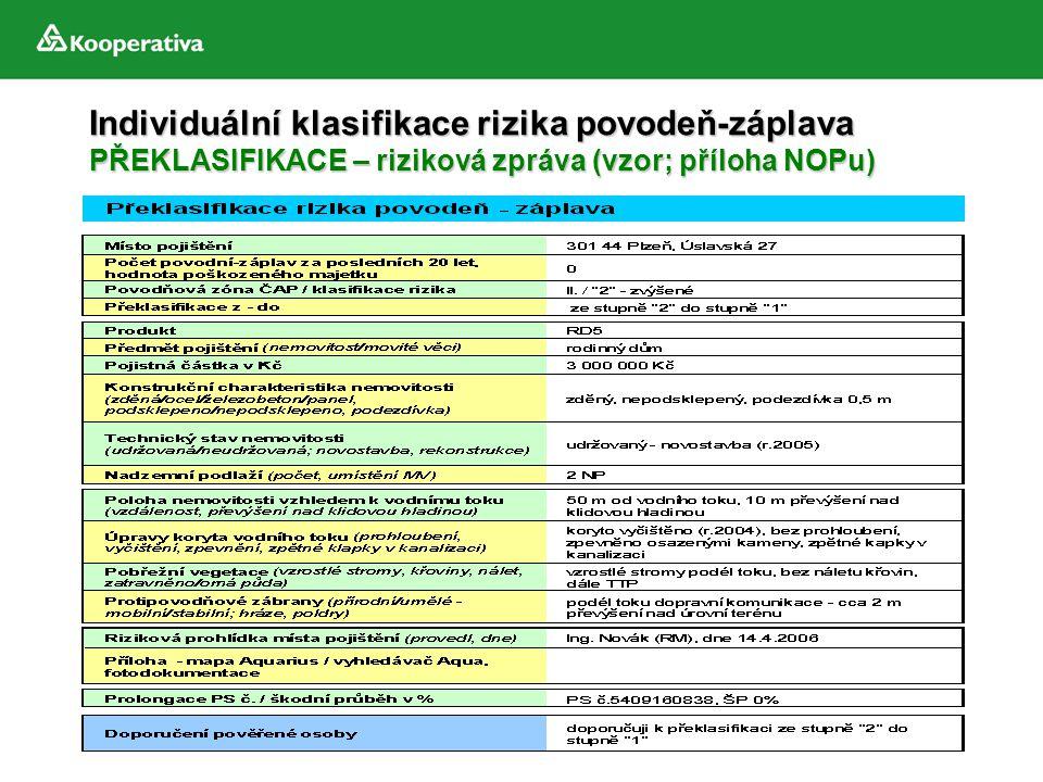 Individuální klasifikace rizika povodeň-záplava PŘEKLASIFIKACE – riziková zpráva (vzor; příloha NOPu)