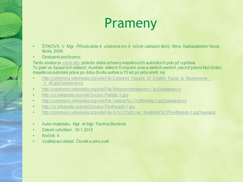 Prameny ŠTIKOVÁ, V. Mgr. Přírodověda 4, učebnice pro 4. ročník základní školy. Brno, Nakladatelství Nová škola, 2006.