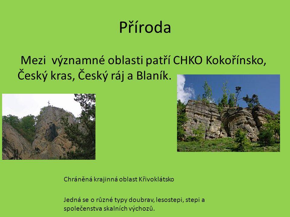 Příroda Mezi významné oblasti patří CHKO Kokořínsko, Český kras, Český ráj a Blaník. Chráněná krajinná oblast Křivoklátsko.