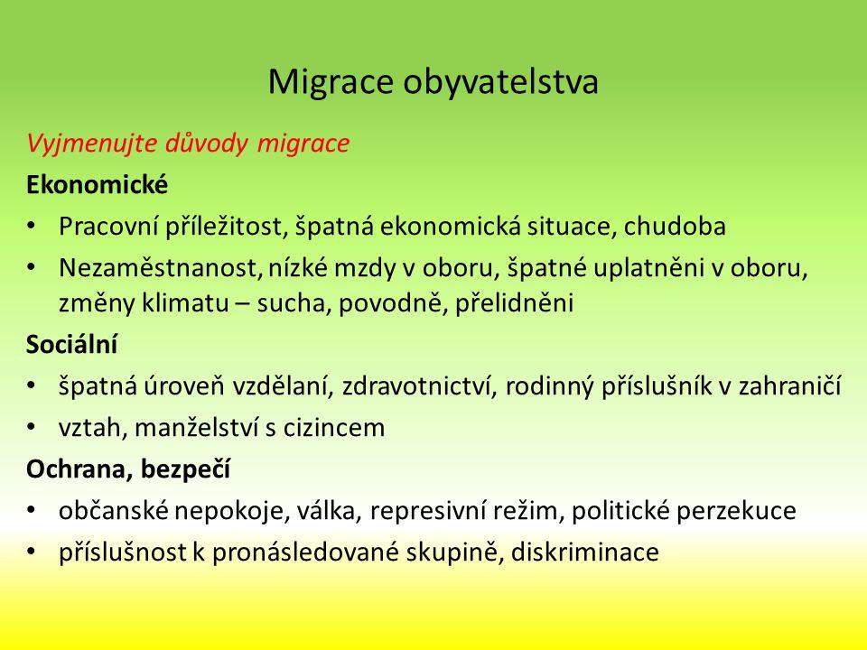 Migrace obyvatelstva Vyjmenujte důvody migrace Ekonomické