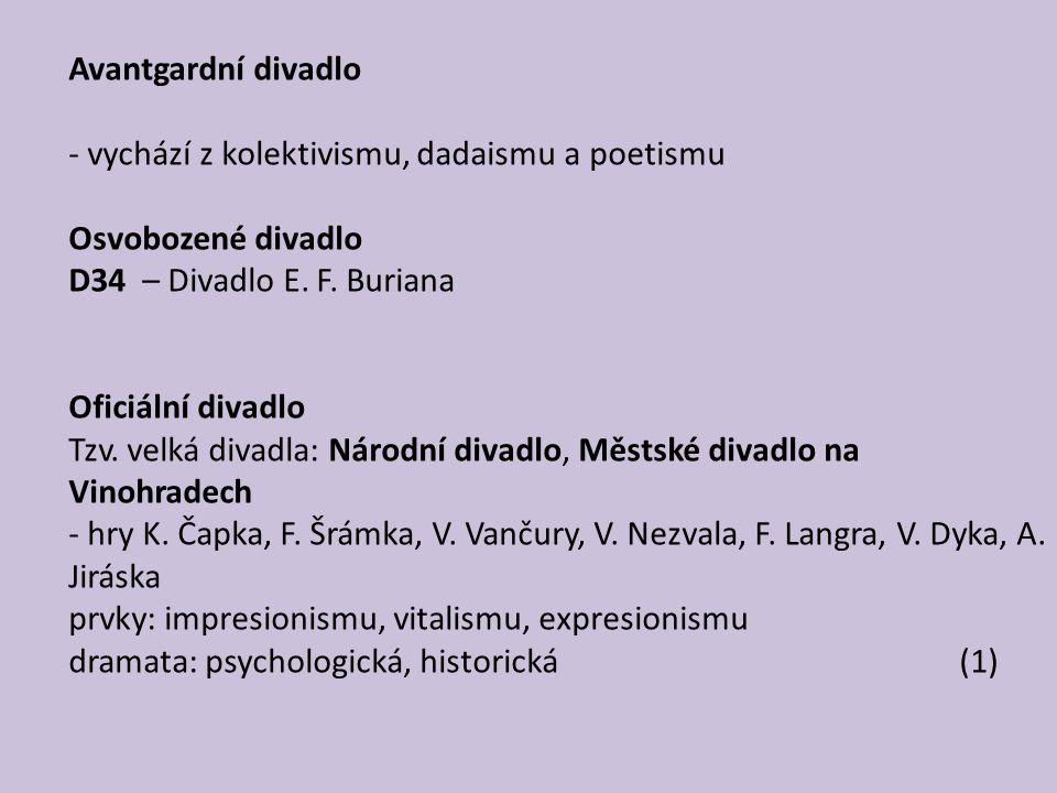 Avantgardní divadlo vychází z kolektivismu, dadaismu a poetismu. Osvobozené divadlo. D34 – Divadlo E. F. Buriana.