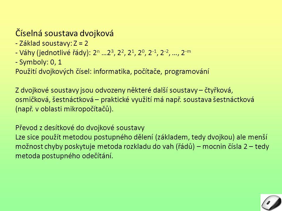 Číselná soustava dvojková