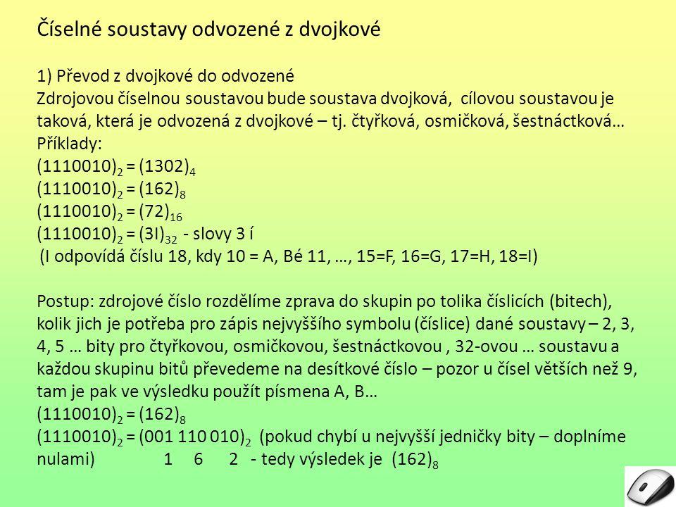 Číselné soustavy odvozené z dvojkové