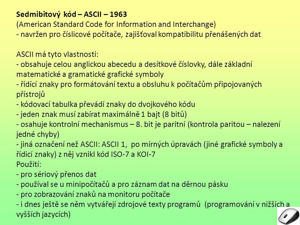 Sedmibitový kód – ASCII – 1963