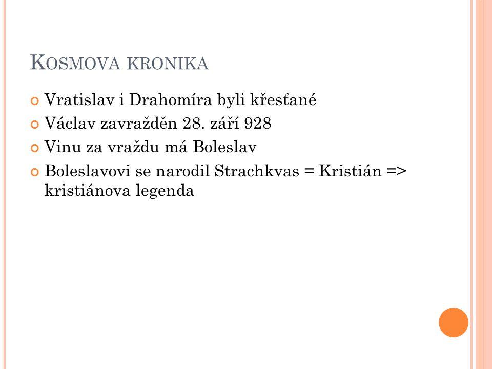Kosmova kronika Vratislav i Drahomíra byli křesťané