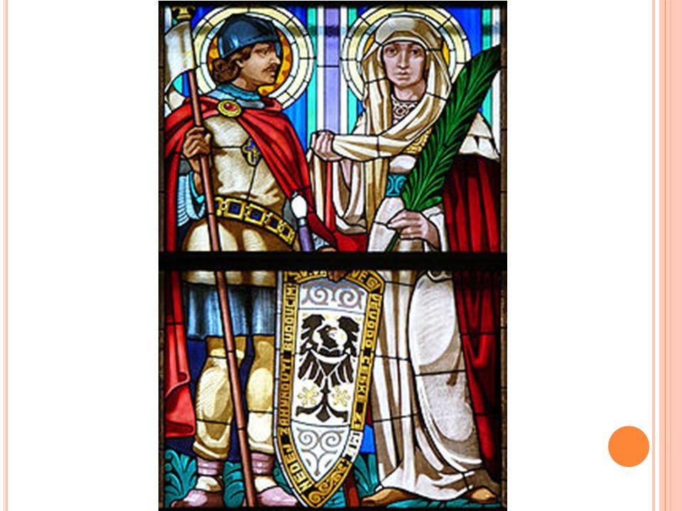 Svatá Ludmila a její vnuk Svatý Václav vkostele svatého Cyrila a Metoděje vOlomouci.