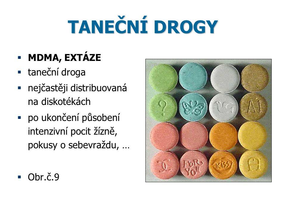TANEČNÍ DROGY MDMA, EXTÁZE taneční droga