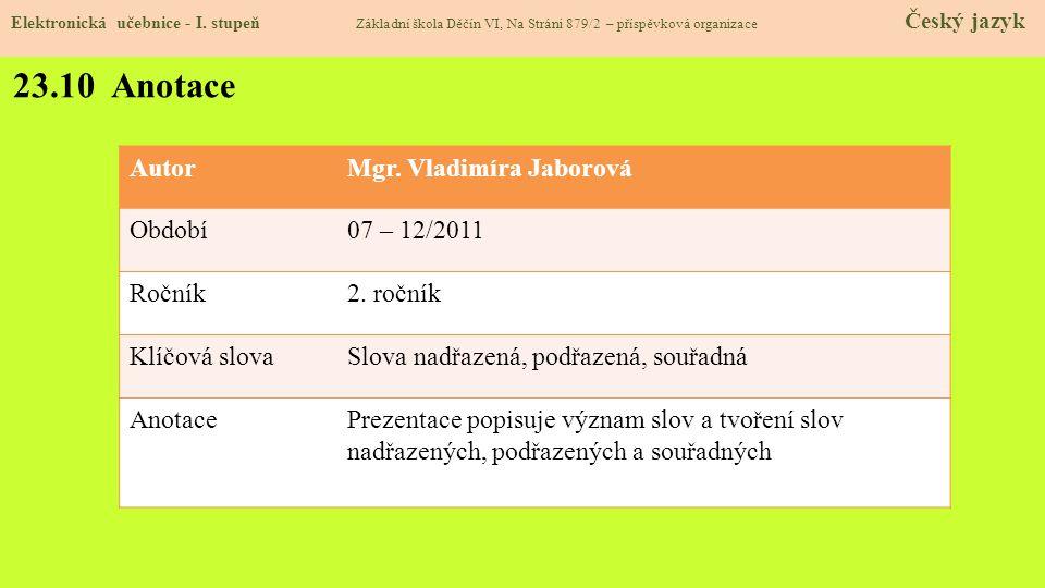 23.10 Anotace Autor Mgr. Vladimíra Jaborová Období 07 – 12/2011 Ročník