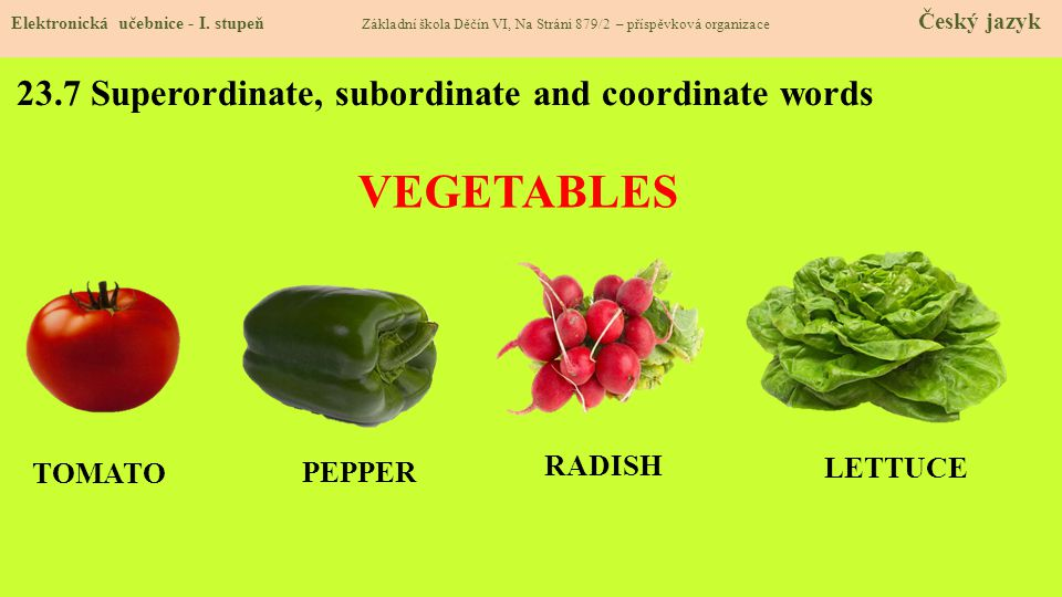 23.7 Superordinate, subordinate and coordinate words