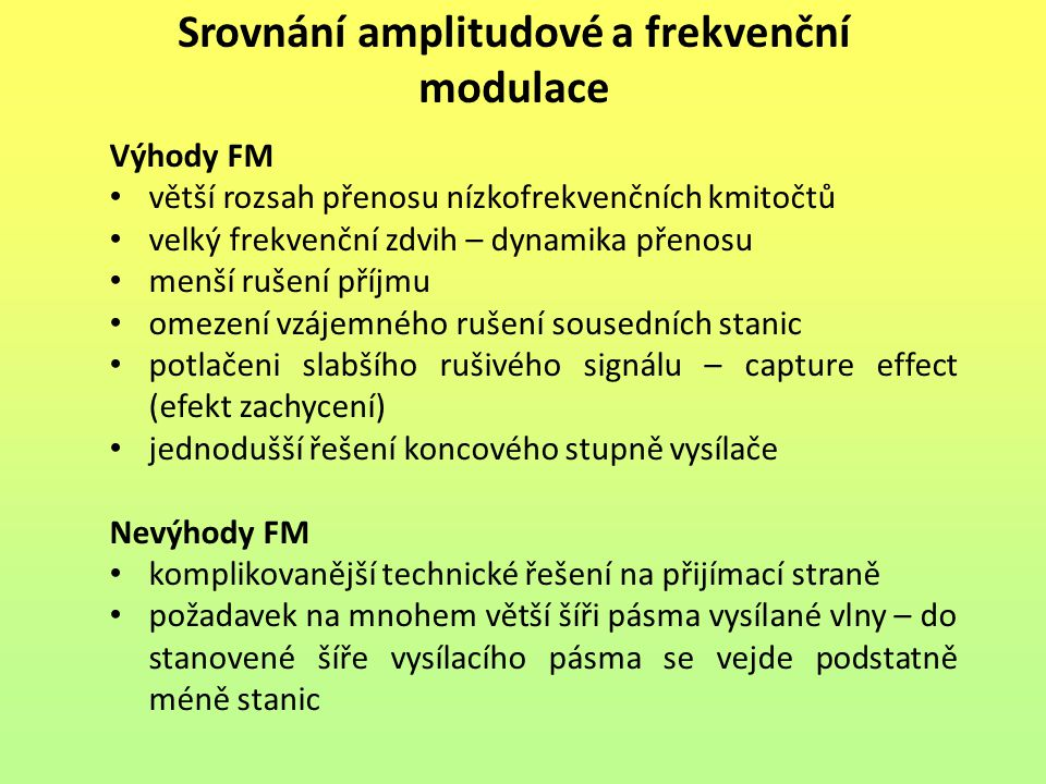 Srovnání amplitudové a frekvenční modulace