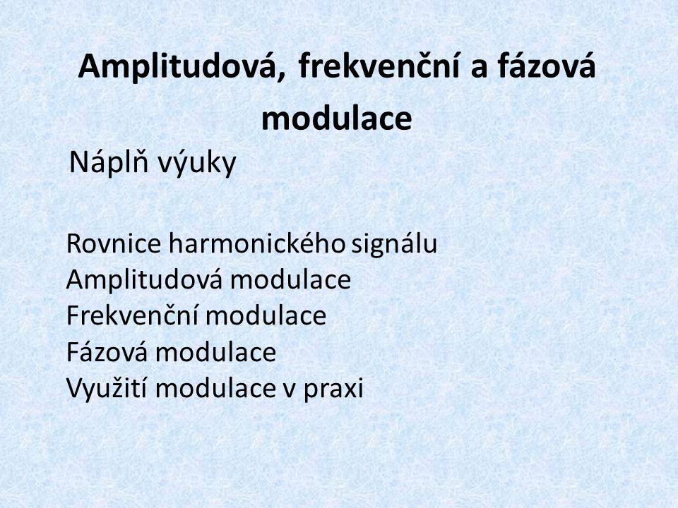 Amplitudová, frekvenční a fázová modulace