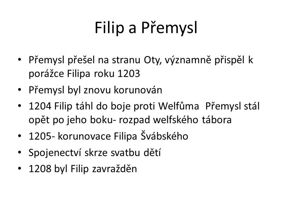Filip a Přemysl Přemysl přešel na stranu Oty, významně přispěl k porážce Filipa roku 1203. Přemysl byl znovu korunován.