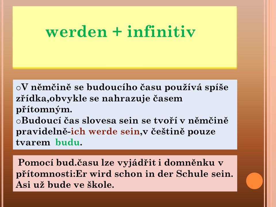 werden + infinitiv V němčině se budoucího času používá spíše zřídka,obvykle se nahrazuje časem přítomným.