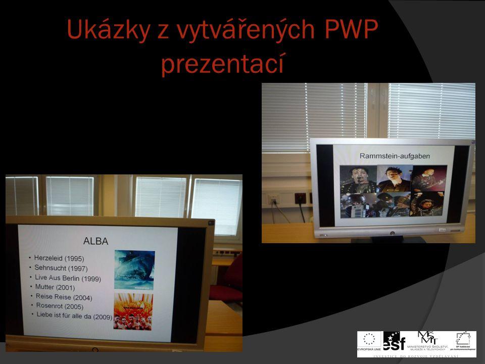 Ukázky z vytvářených PWP prezentací