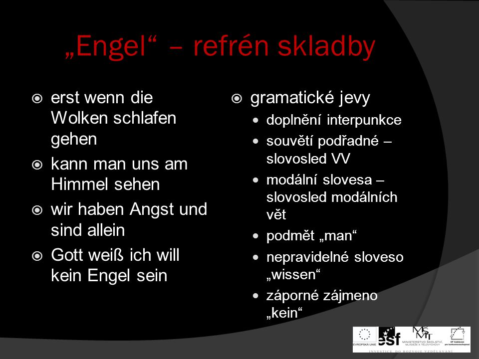 """""""Engel – refrén skladby"""