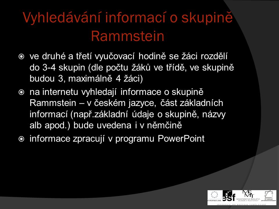 Vyhledávání informací o skupině Rammstein