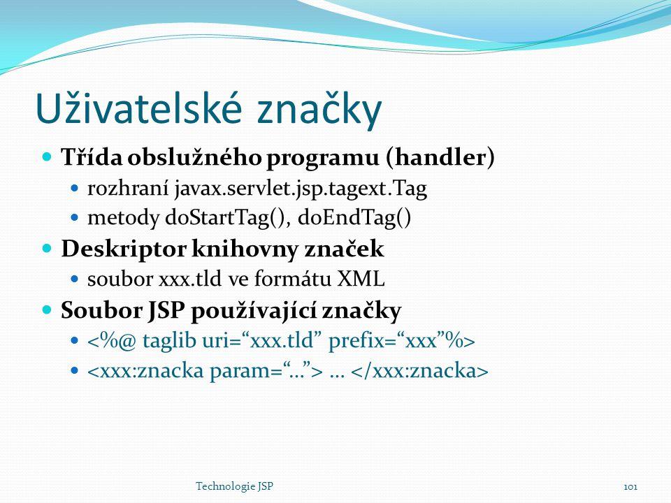 Uživatelské značky Třída obslužného programu (handler)