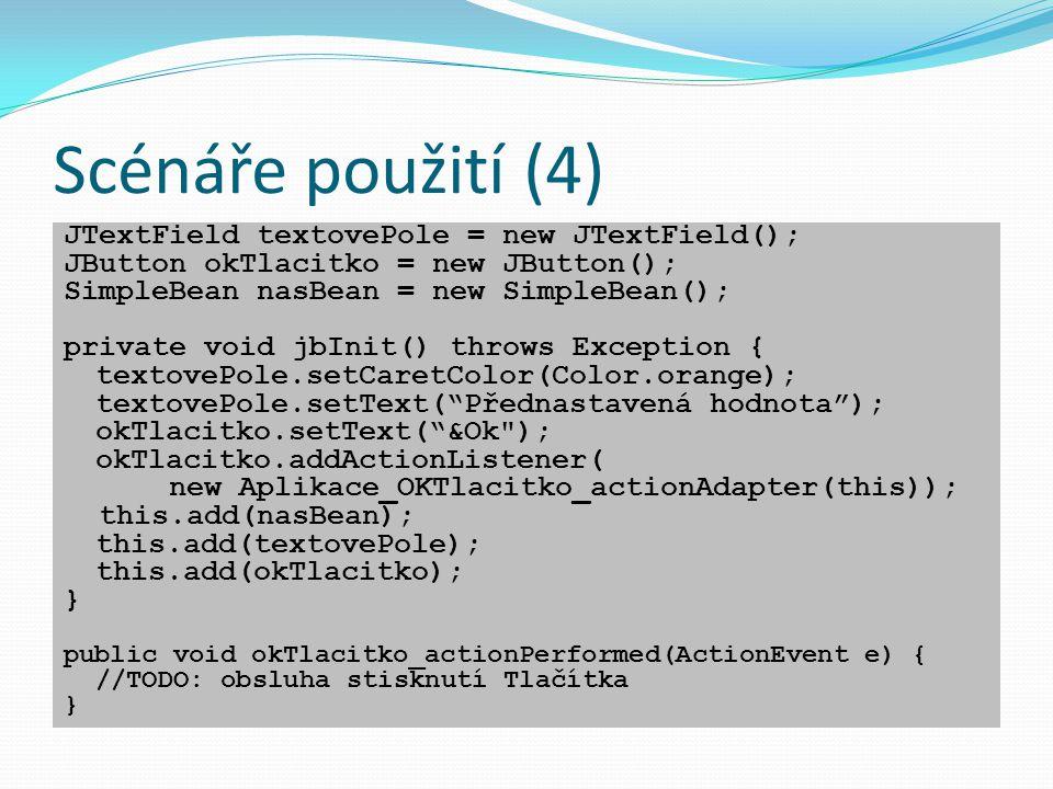 Scénáře použití (4) JTextField textovePole = new JTextField();