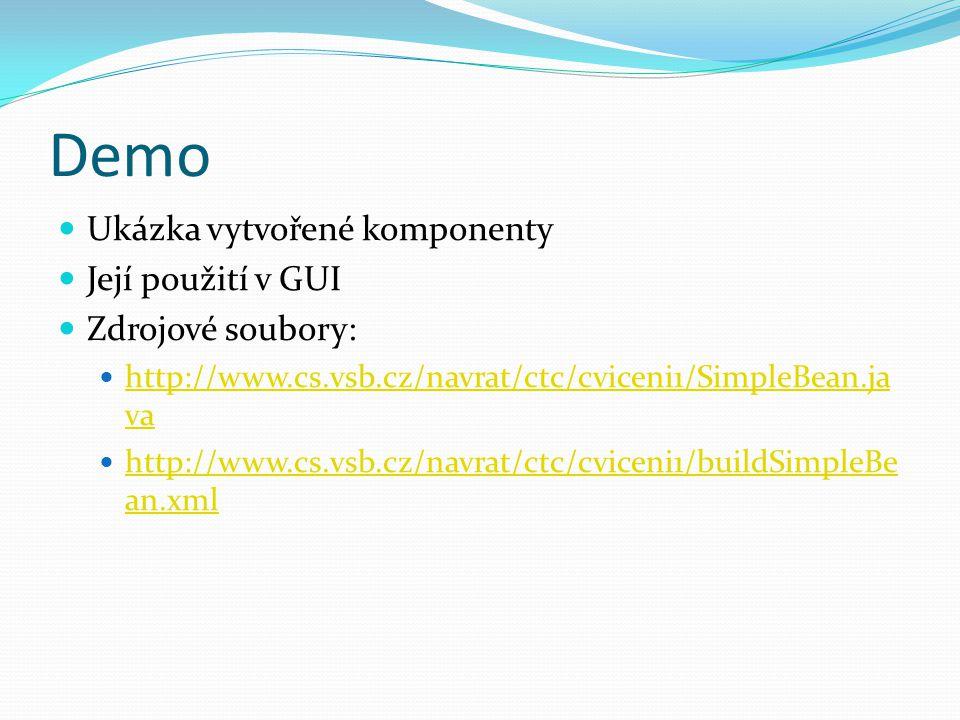Demo Ukázka vytvořené komponenty Její použití v GUI Zdrojové soubory:
