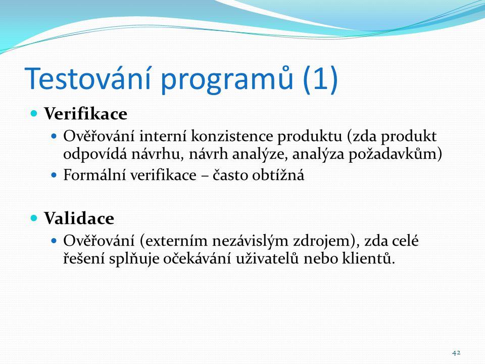 Testování programů (1) Verifikace Validace