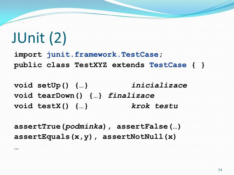 JUnit (2) import junit.framework.TestCase;