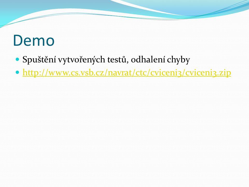 Demo Spuštění vytvořených testů, odhalení chyby