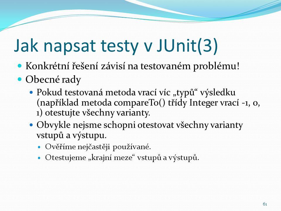 Jak napsat testy v JUnit(3)