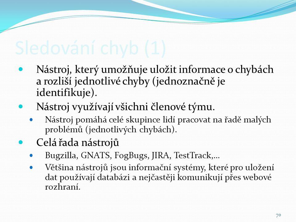 Sledování chyb (1) Nástroj, který umožňuje uložit informace o chybách a rozliší jednotlivé chyby (jednoznačně je identifikuje).