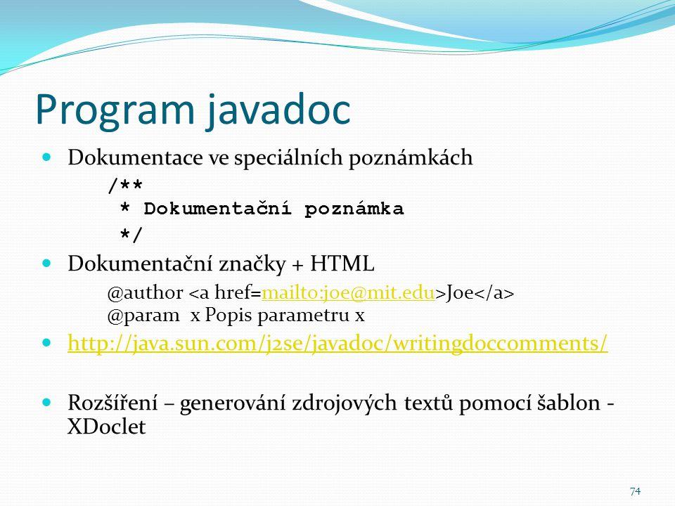 Program javadoc Dokumentace ve speciálních poznámkách
