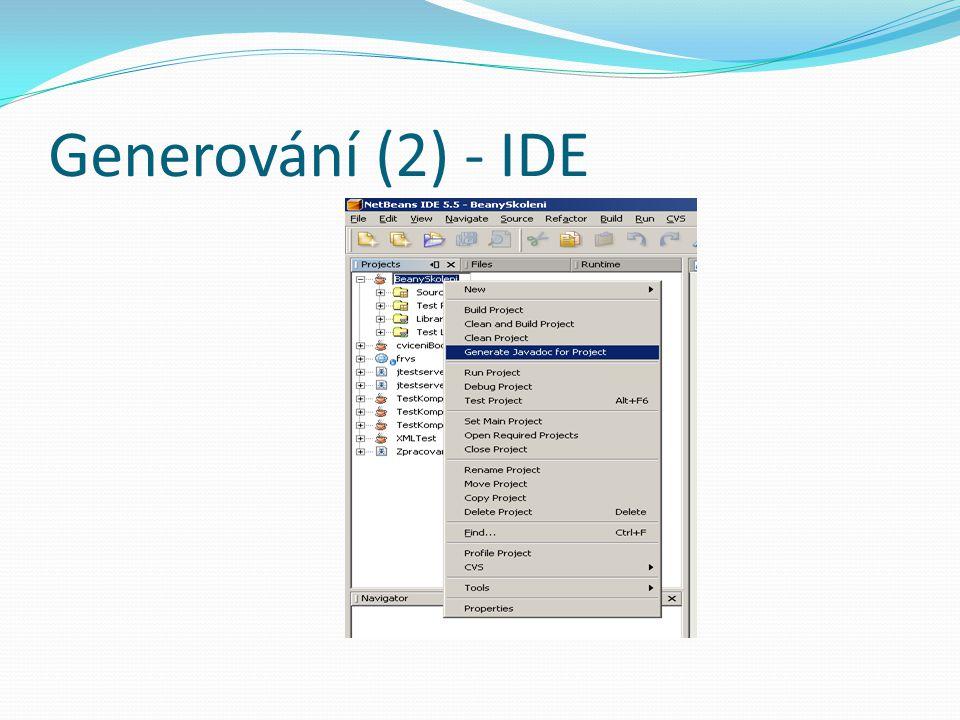 Generování (2) - IDE