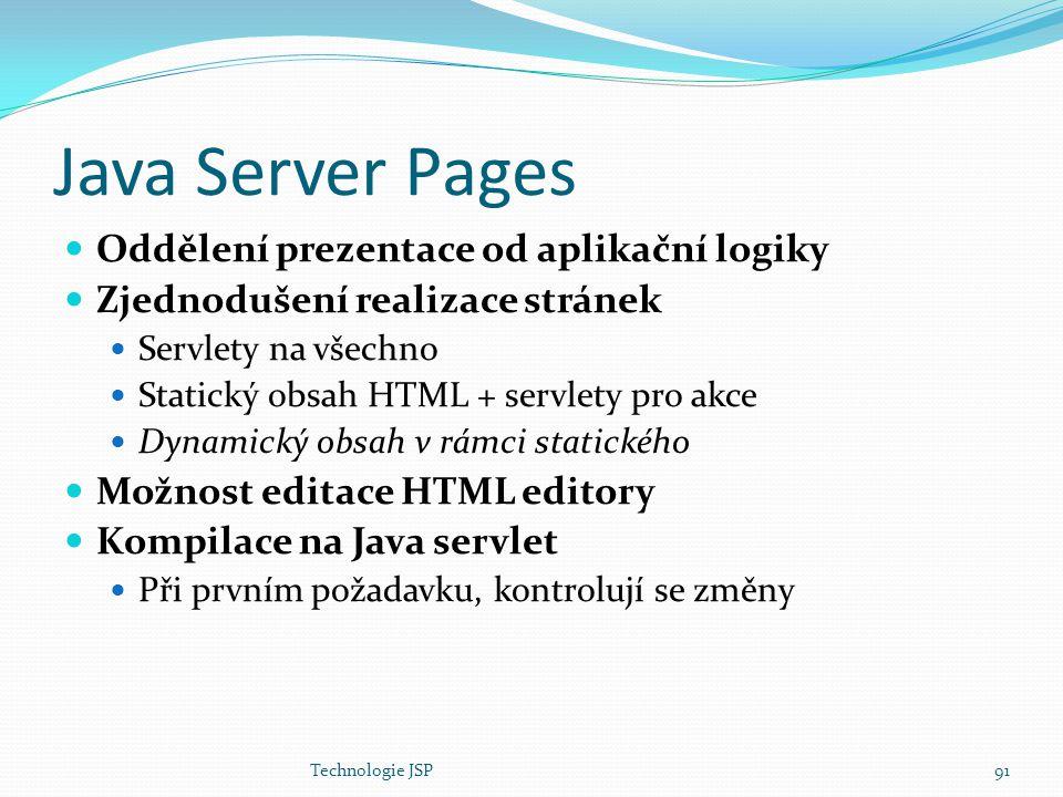 Java Server Pages Oddělení prezentace od aplikační logiky