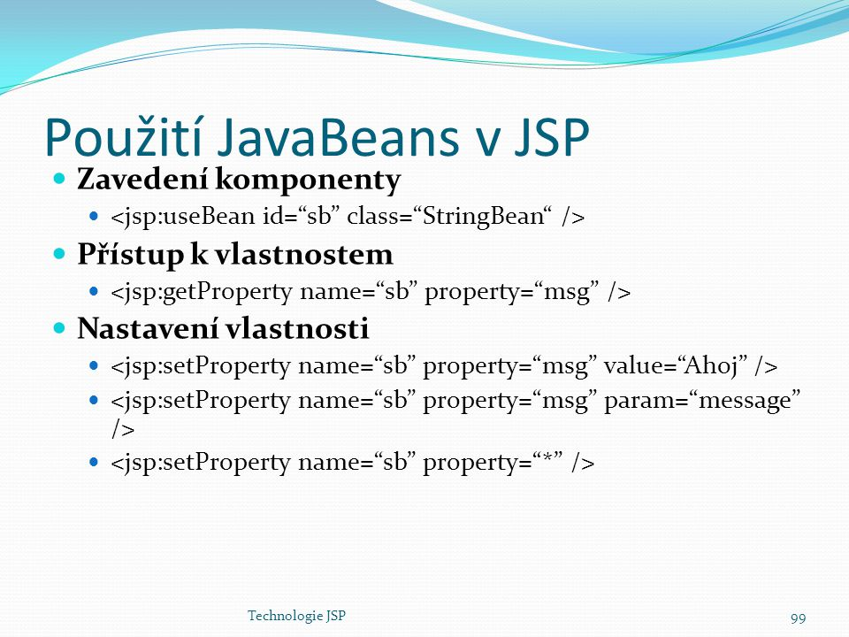 Použití JavaBeans v JSP