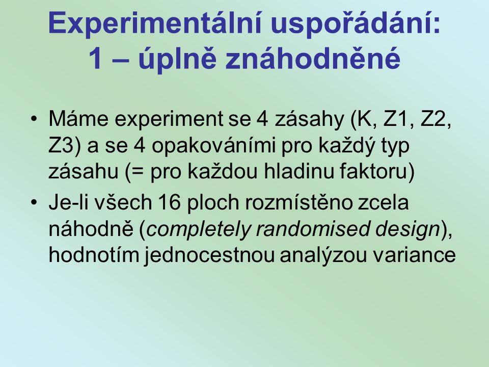 Experimentální uspořádání: 1 – úplně znáhodněné
