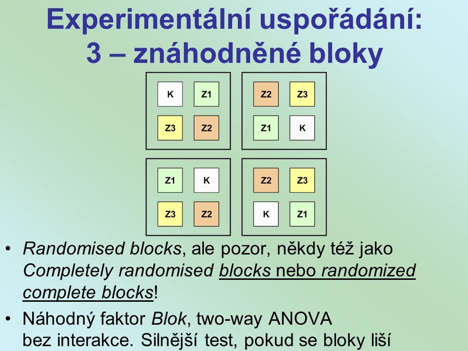 Experimentální uspořádání: 3 – znáhodněné bloky
