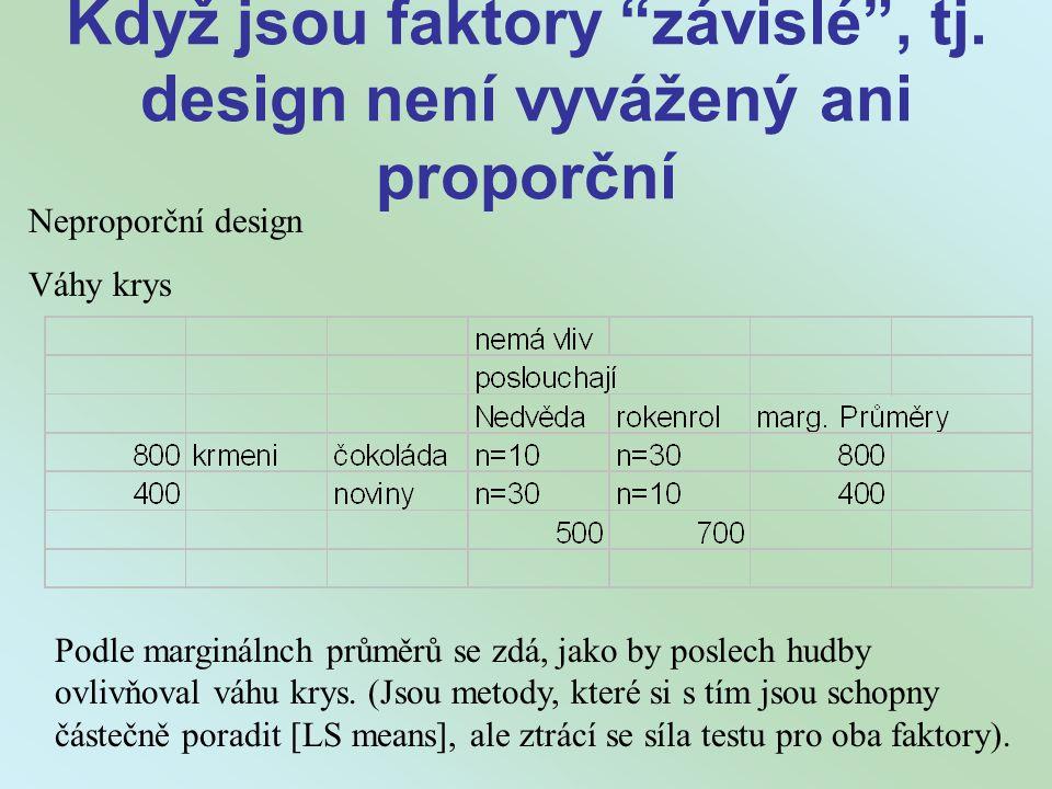 Když jsou faktory závislé , tj. design není vyvážený ani proporční