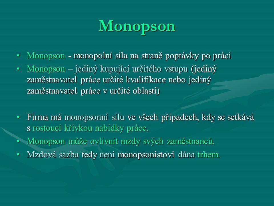 Monopson Monopson - monopolní síla na straně poptávky po práci