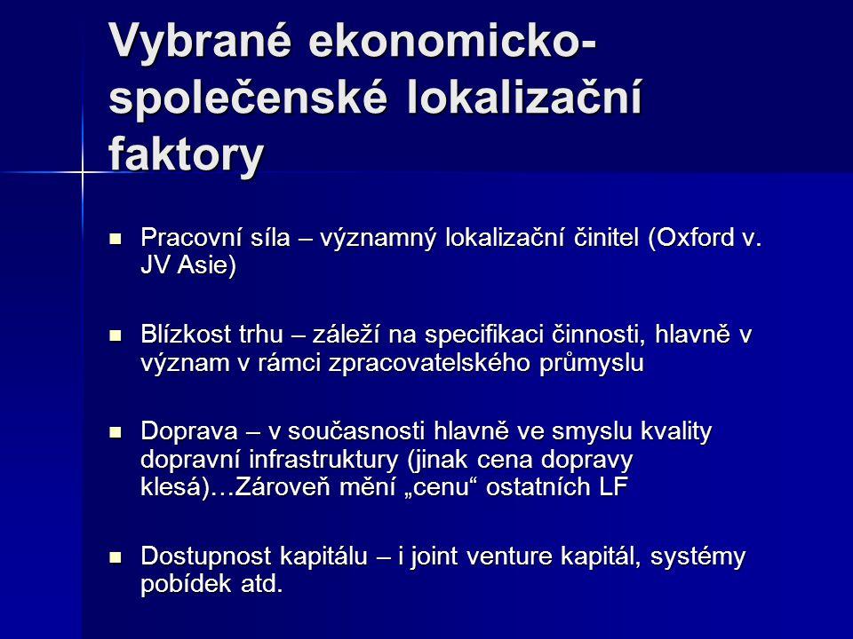 Vybrané ekonomicko-společenské lokalizační faktory