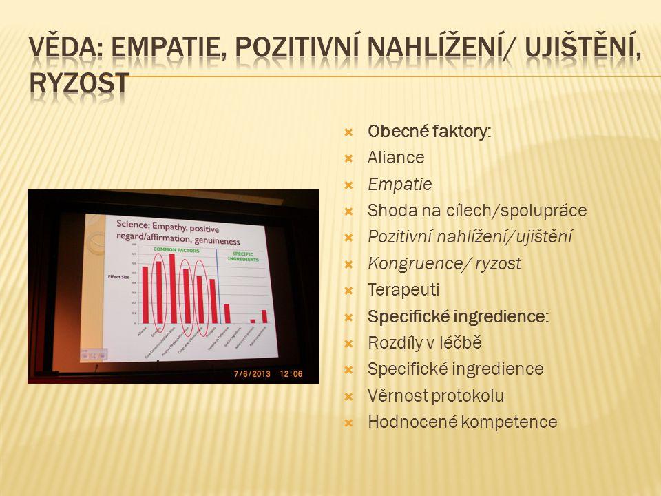 Věda: empatie, pozitivní nahlížení/ ujištění, ryzost