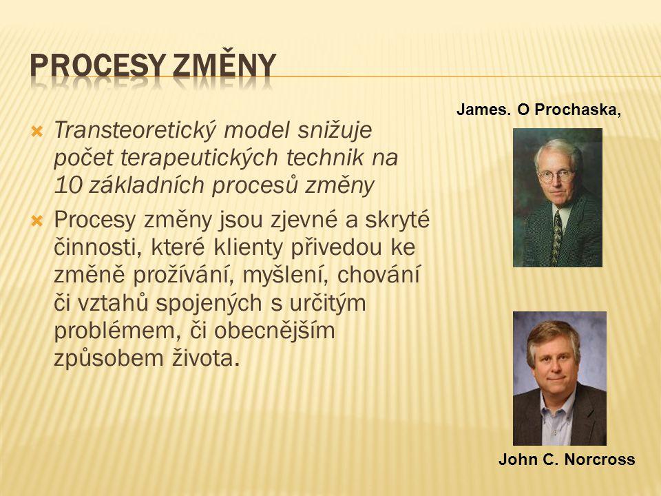 PROCESY ZMĚNY James. O Prochaska, Transteoretický model snižuje počet terapeutických technik na 10 základních procesů změny.