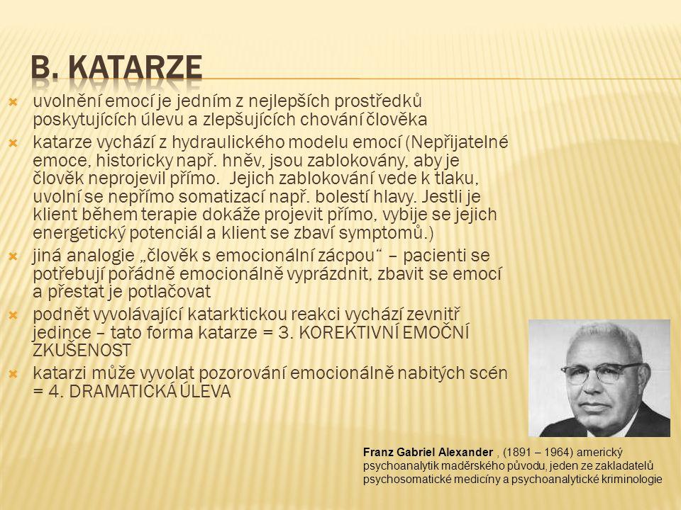 B. Katarze uvolnění emocí je jedním z nejlepších prostředků poskytujících úlevu a zlepšujících chování člověka.