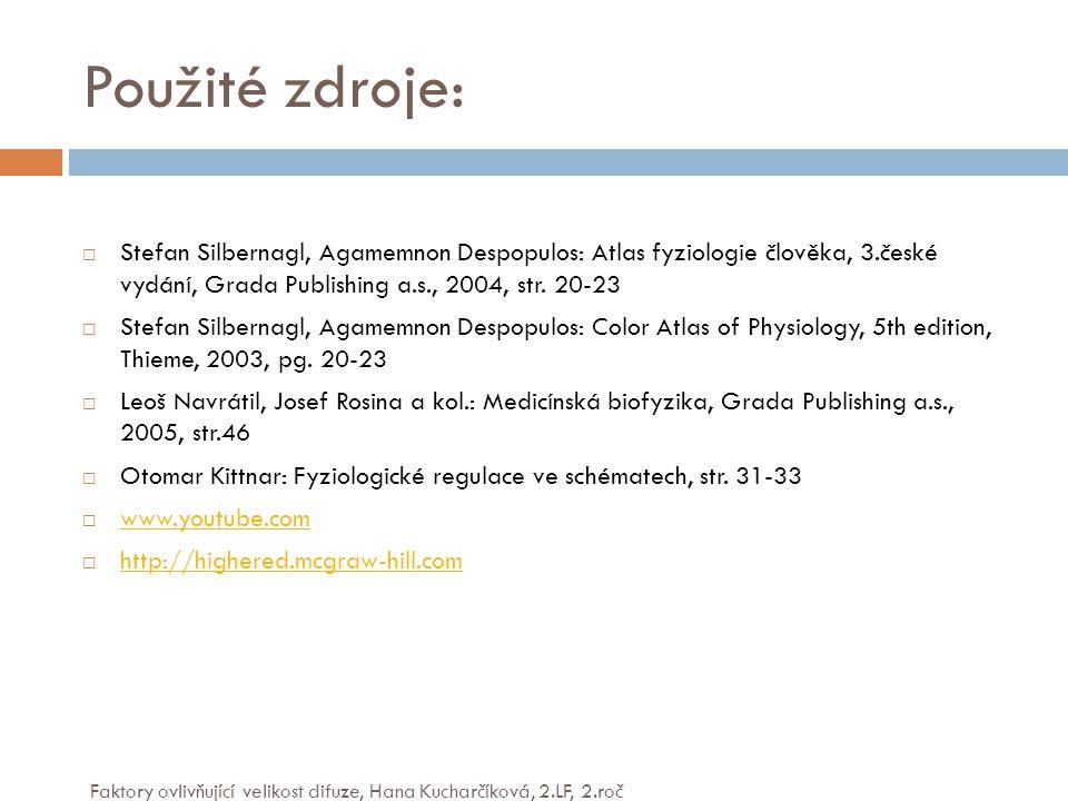 Použité zdroje: Stefan Silbernagl, Agamemnon Despopulos: Atlas fyziologie člověka, 3.české vydání, Grada Publishing a.s., 2004, str. 20-23.