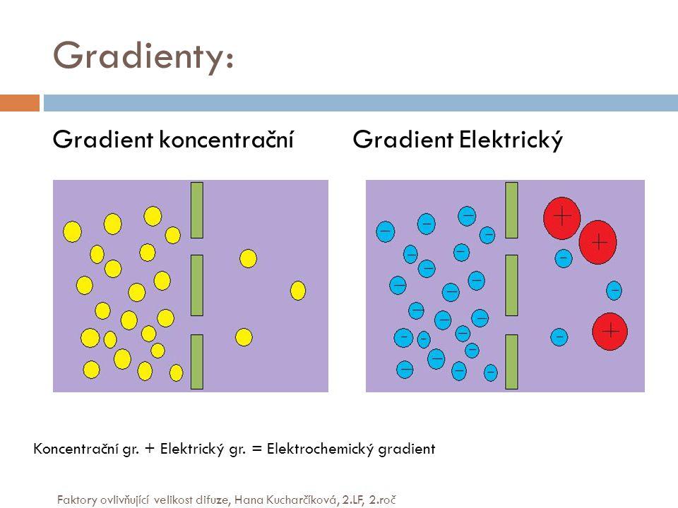 Gradienty: Gradient koncentrační Gradient Elektrický